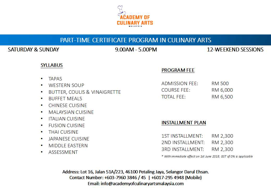 Part Time Certificate Program Academy Of Culinary Malaysia